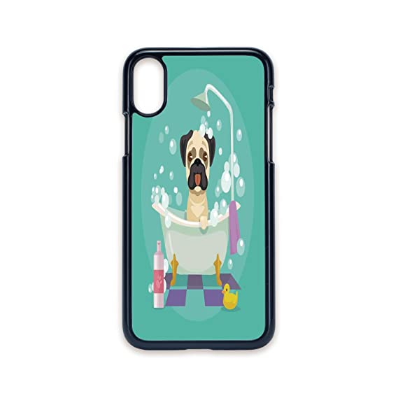 Phone Case Compatible With IPhone X 2D Print Black Edge,Nursery,Pug Dog In