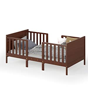 Costzon 2 in 1 Convertible Toddler Bed, Classic Wood Kids Bed w/ 2 Side Guardrails, Headboard, Footboard for Extra Safety, Children Bed Frame Convert to Two Chairs/Sofas, Gift for Boys Girls (Brown)