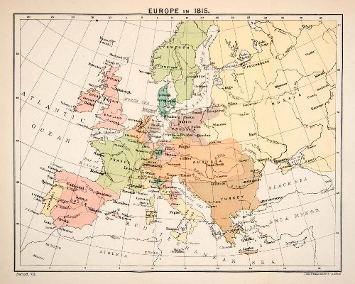 1897 Print Map Europe 1815 Great Britain France Spain Prussia Netherlands Russia - Relief Line-block Map - 1897 Map