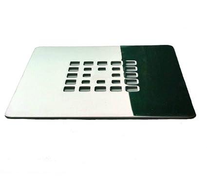 Rejilla cuadrada de 12,5 X 12,5 cm en acero inoxidable para platos de ducha de resina,pizarra,mármol,piedra