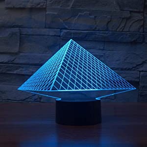 YKL World 3D Illusion Lamp Pyramid LED Night Light Touch Control 7 Colors Changing Table Lamp Bedroom Bedside Decor Lighting Christmas Birthdays Gifts for Boys Girls Toys