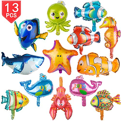 (PROLOSO Foil Animal Balloons Aluminum Sea Creatures Tropical Fish Mylar Self-Sealing Party Pack of 13 (Large) )