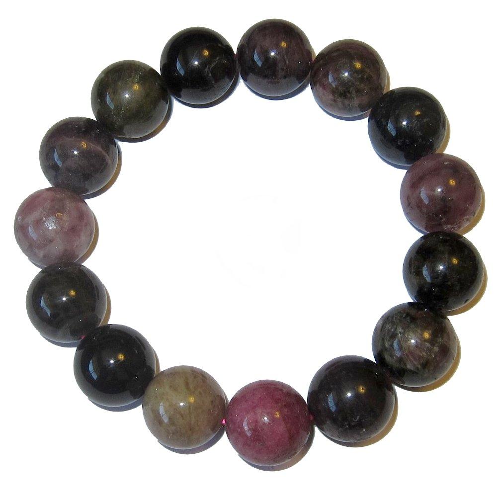 Tourmaline Bracelet Rainbow 53 Jumbo Jewels 15mm Precious Healing Gemstone Crystal Stone Stretch Style 7.25'' by SatinCrystals