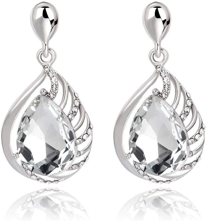Sxuefang Pendientes Aleación Elegante Conjunto con Piedras Preciosas, Simples en Forma de lágrima Perforada Pendientes de Diamantes Pendientes