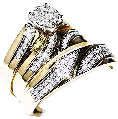 Real Diamond Trio Wedding Set Mens Women Ring 1/2cttw 10k Yellow Gold(i2/i3 Clarity, H/i Color)