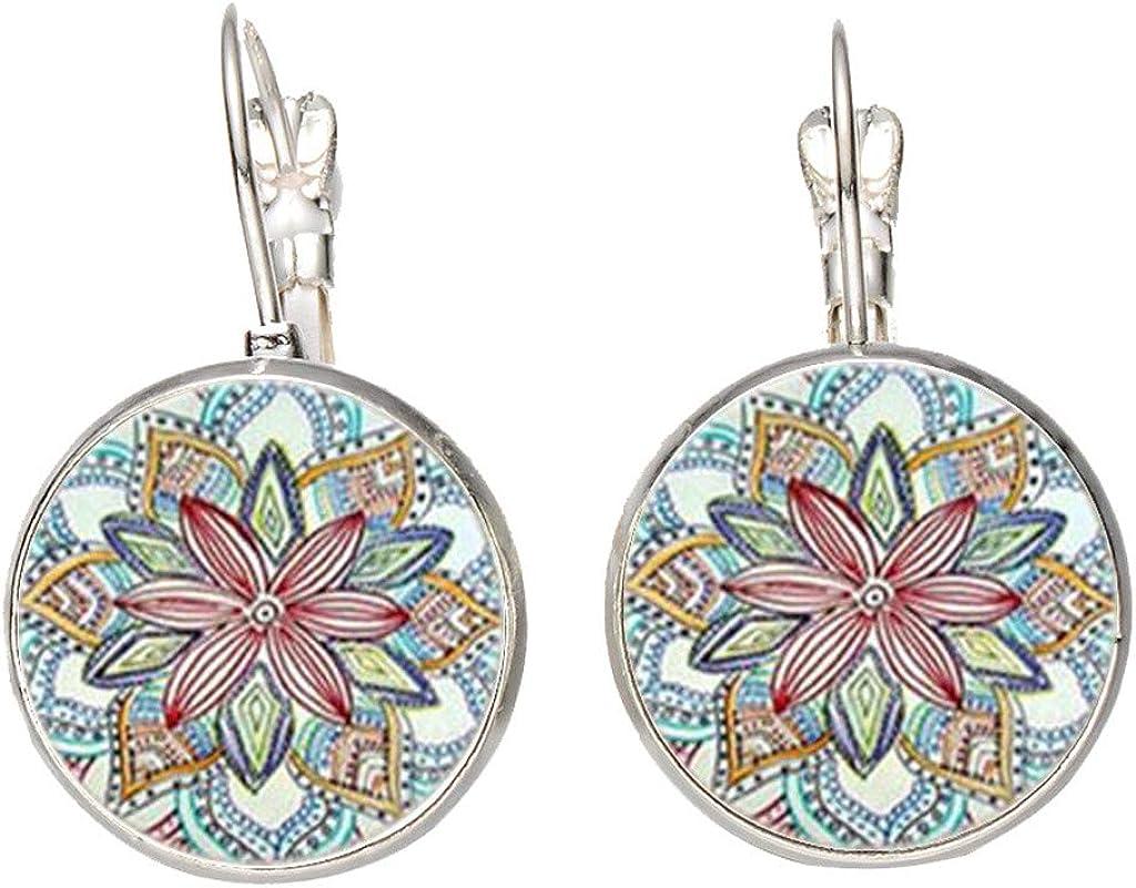 Qijinlook💖aretes baratos/Bohemia/aretes baratos 💖, botón redondo retro estilo étnico pendientes cristal guirnalda tiempo piedras preciosas pendientes