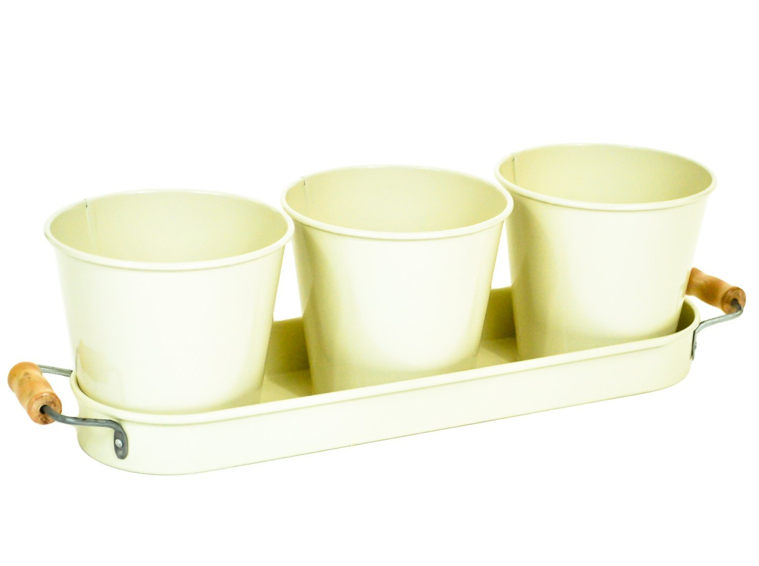 east2eden Retro Vintage Cream Enamel Set of 3 Plant Herb Flower Pot Pots Planter with Tray