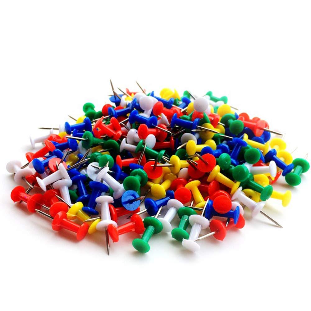 Yapthes 50PCS colorate puntine trasparenti pollice puntine puntine da disegno Hardy con testa in plastica Sharp perni in acciaio, facile da inserire nella Tough superfici Portamemo per ufficio