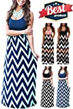 Mommy Jennie Womens Summer Boho Empire Chevron Tank Top Casual Maxi Long Dress Beach Dresses (A-Royal Blue, XXL)