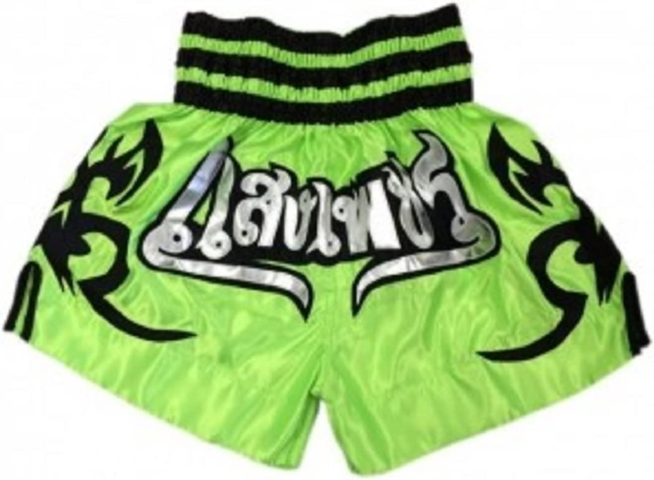 Woldorf Boxing Muay Thai Shorts in Satin Embroidery Green Kickboxing Martialarts