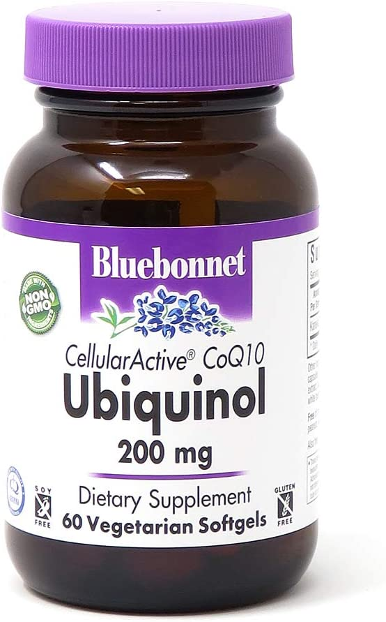 Bluebonnet Nutrition Cellular Active CoQ10 Ubiquinol 200mg Vegetarian Softgels, Heart Health & Cellular Health, Ubiquinol from Kaneka, Non GMO, Gluten Free, Soy Free, Milk Free, 60 Vegetarian Softgels