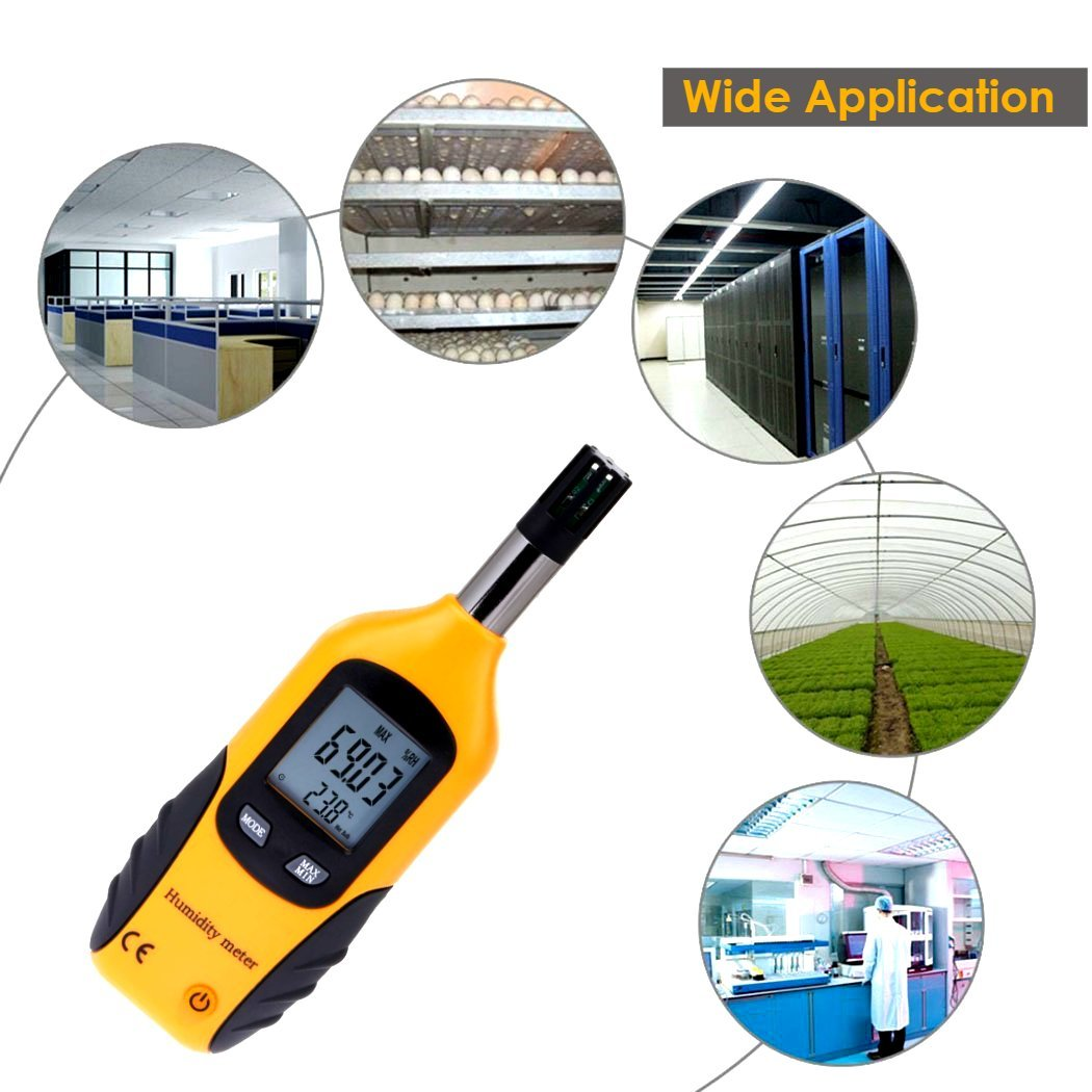 WT Meter - Digital Psychrometer and Portable Thermometer Hygrometer with LCD Monitor, Temperature Gauge and Humidity Meter, Professional Use, High Sensitive and Performance (Yellow) by WT Meter (Image #6)