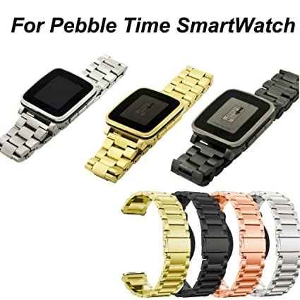 Para Pebble Time Steel Armband, Milanese de acero inoxidable ...