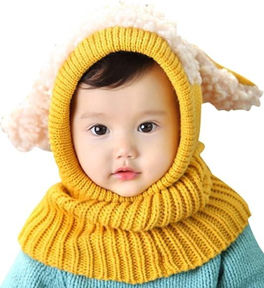4b95986dde2 Invierno del bebé Niños Chicas Chicos Tejido Gorro Punto Caliente Lana  Cofia Capucha Bufanda Caps Sombreros