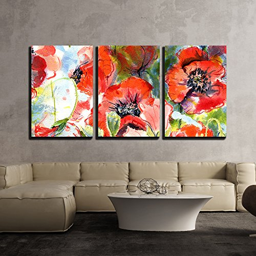 wall26 - 3 Piece Canvas Wall Art - Seamless Pattern with Watercolor Hand Drawn Poppies - Modern Home Decor Stretched and Framed Ready to Hang - 24