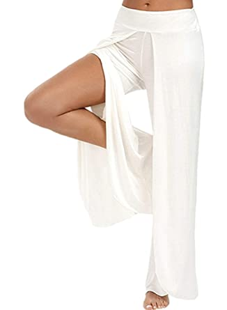 662bff8727b32 Pantalons Palazzo Femme Fashion Bouffant Fourcher Pantalon De ...