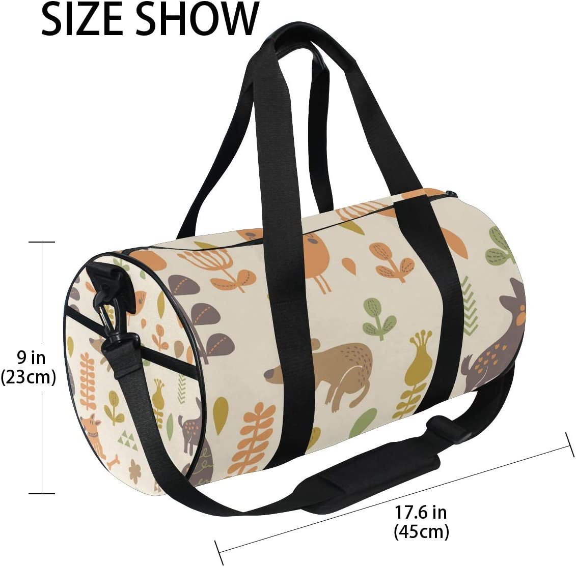 MALPLENA Dogs And Plants Drum gym duffel bag women Travel Bag