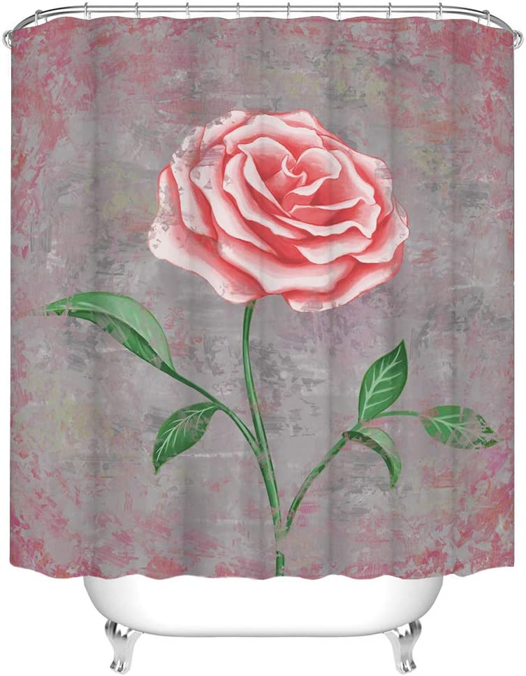 RnnJoile Vintage Rose Shower Curtain Grunge Shabby Pink Flower with Grey Background Bath Curtain Floral Curtains for Women's Bathroom Decor Waterproof Fabric Cloth with Hooks 72