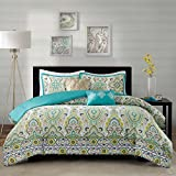 Modern Teen Girls Floral Paisley Aqua Yellow Comforter Bedding Set with Pillows (Twin/twin Xl) Includes Mouse Pad