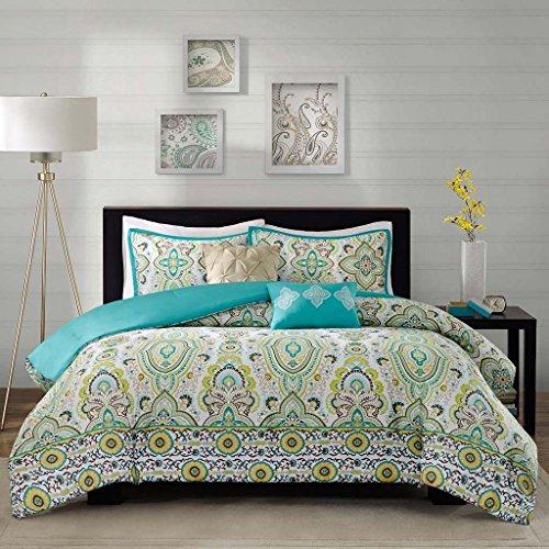Modern Teen Girls Floral Paisley Aqua Yellow Comforter