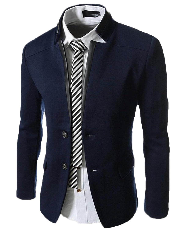 new BSTGE Men&39s Stand Collar Slim Fit Lightweight Suit Jacket