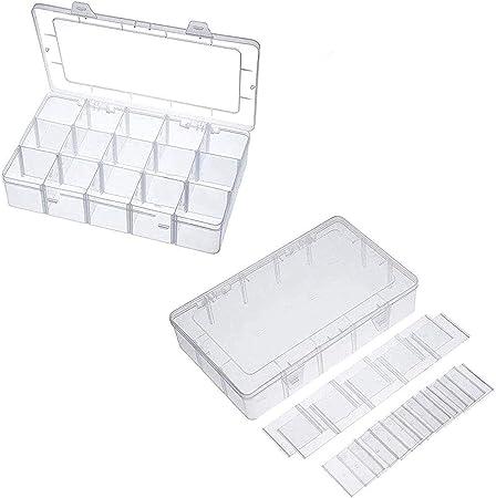 HPiano 2 Piezas 15 Compartimientos Joyeros Divisores Organizador de Caja Caja de Cuentas de Plástico Transparente Ajustable Contenedor de Almacenamiento, 27 * 16 * 5,5 cm: Amazon.es: Hogar