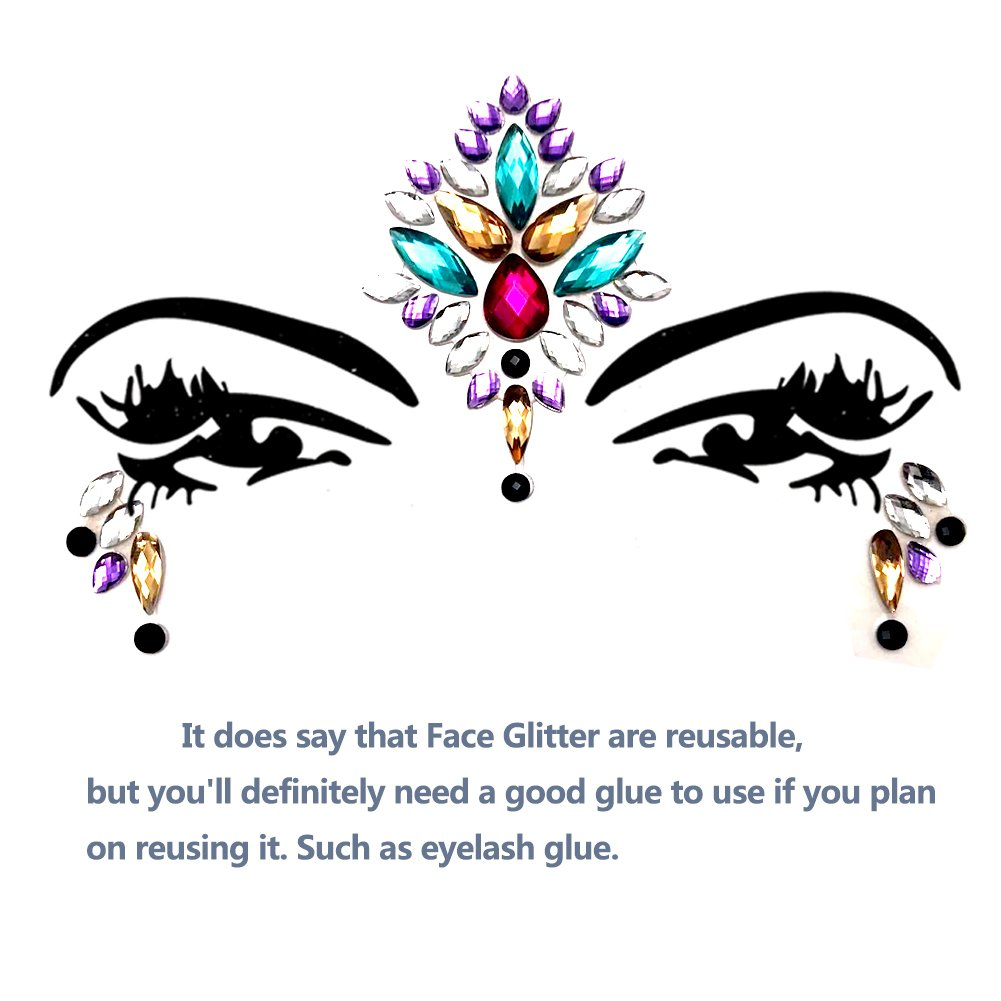 Face Gems Glitter - 8 Sets Mermaid Face Jewels Rhinestone Tattoo Face Glitter Bindi Crystals Rainbow Tears Face Gems Stickers Fit for Festival Party by LanGui (Image #7)