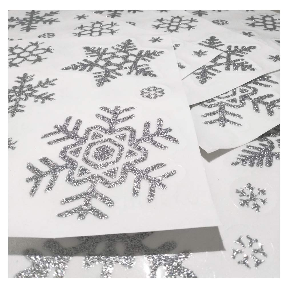 Gold, 114 pcs Uimiqc Glitter Snowflake Window Clings 114 pcs Reusable Sparkly Static Window Clings for Christmas Holiday Winter Window Decorations Multi-Size