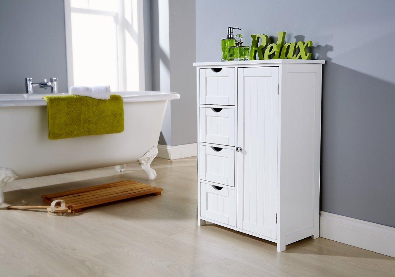 Brown Source Bathroom Cabinet White Floor Standing 4 Drawer 1 ...