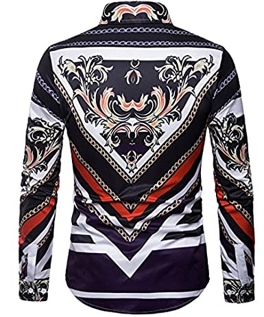 Gnao Mens Slim 3D Print Long Sleeve Lapel Button Down Shirts