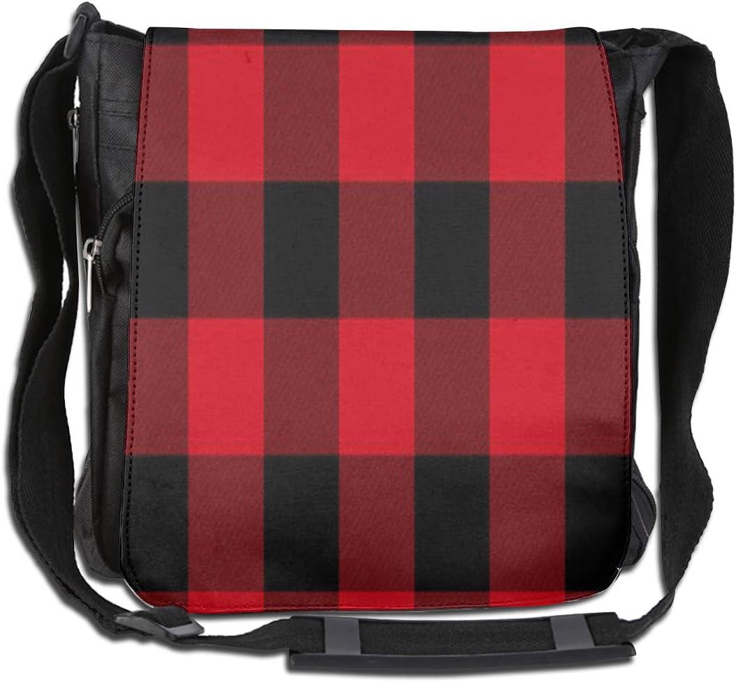 LRHUI Red and Black Grid Unisex Multifunction Narrow Single Shoulder Bag Diagonal Business Bag