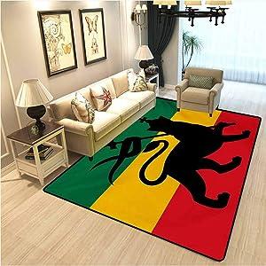 Rasta Carpet for Kitchen,Carpet mat Rastafarian Flag with Judah Lion Reggae Music Inspired Design Image Living Room Carpet,Indoor-Outdoor Carpet Black Red Green and Yellow W6xL8.8 Ft