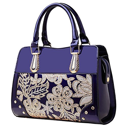 Wenl Bags Patent Leather Handbags New European And American Fashion, Red Darkblue