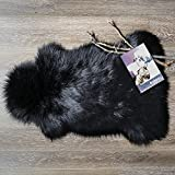 Ashler Soft Faux Sheepskin Fur Chair Couch Cover Area Rug For Bedroom Floor Sofa Living Room 2 x 3 Feet (Black)
