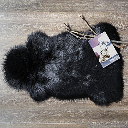 Ashler Soft Faux Sheepskin Fur Chair Couch Cover Area Rug For Bedroom Floor Sofa Living Room 2 x 3 Feet (Black) by Ashler