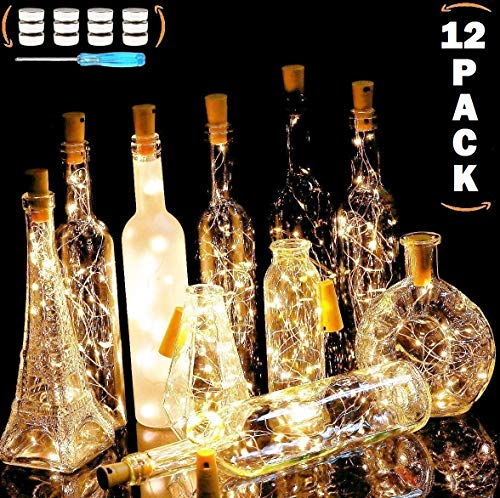 REDNUTH Cork Lights Wine Bottle Lights, 12 Pack 20 LEDs with 36+12 Pcs LR44 Operated Batteries on 7.2 Ft/2m Mini Silvery Copper Wire Fairy Lights for DIY and Party Wedding Table Decor (Warm White)