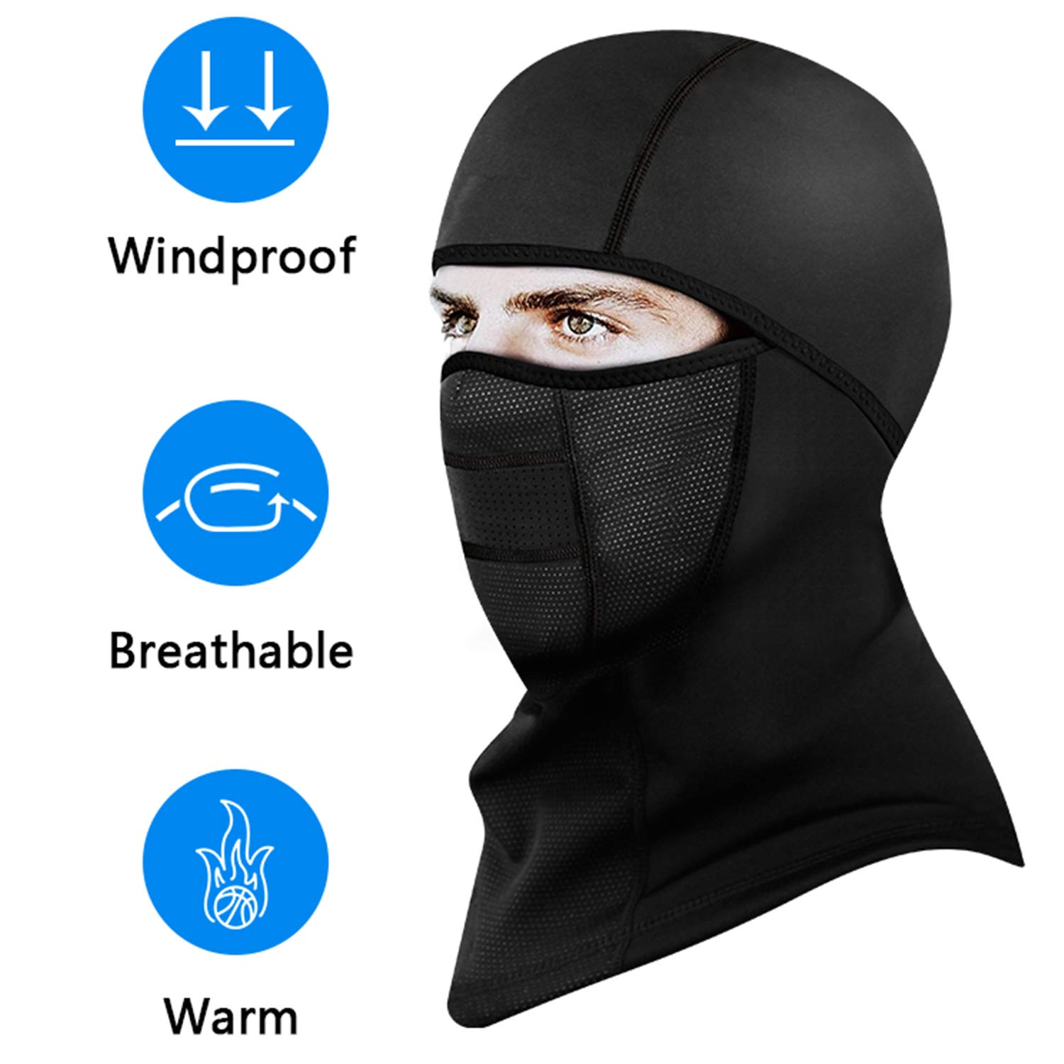 Kingoudoor Balaclava Ski Mask - Winter Motorcycle Face Mask Windproof with Breathable Vents for Men/Women