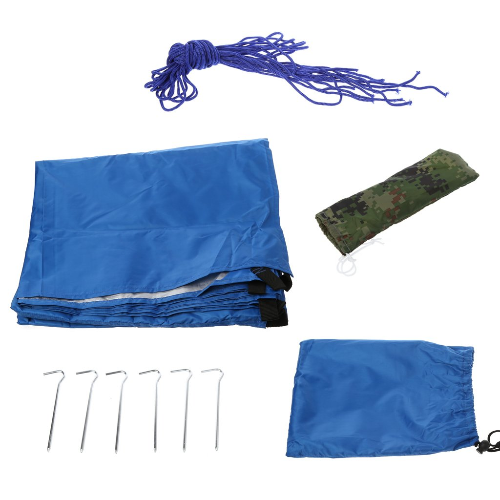 UJuly Light Hanging Canopy Outdoor Hiker Tarp Camp Waterproof Picnic Mat Canopy Tent with Drawstring Carrying Bag for Picnic (Blue)