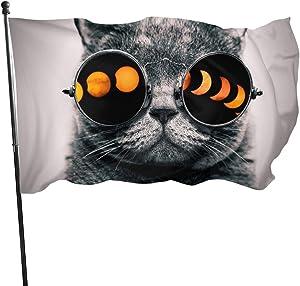 seaEagle cat Glasses Total Solar Eclipse Outdoor Flag Garden Decorative Banner 3x5 Ft