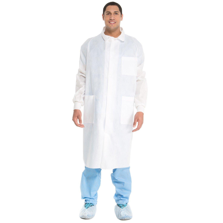 Kimberly Clark Universal Precautions Lab Coat - White - Large (26.5'' x 46.5'' x 19'') 25 per Case