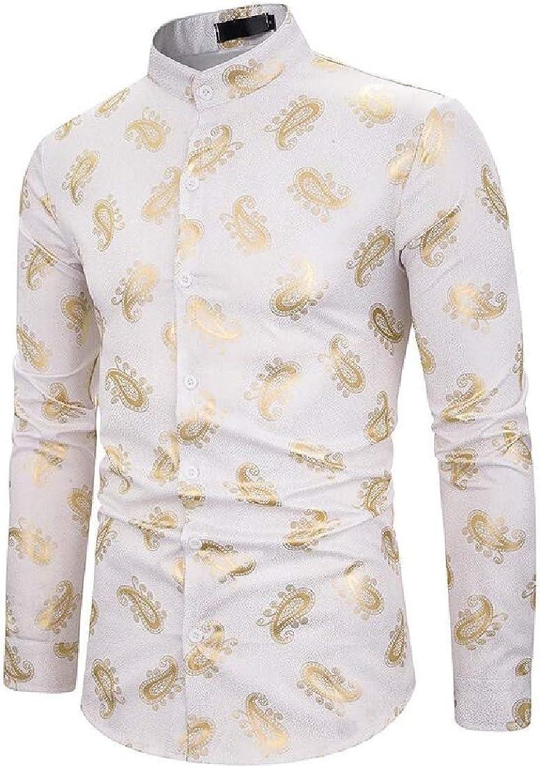 Etecredpow Men Stand Collar Paisley Print Africa Dashiki Long-Sleeve Shirts