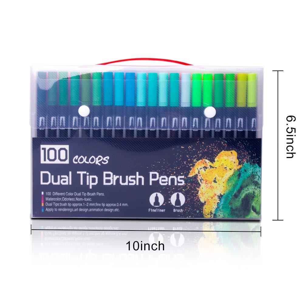 Laconile 100/colori acquerello spazzole con punta di 2/mm spazzola e 0.4/mm punta fine doppia punta Art marcatori per adulti da colorare disegno pittura effetto acquerello nero