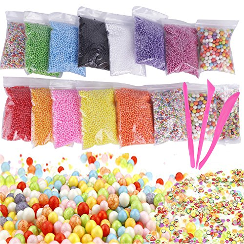Foam Balls for Slime, Giveme5 15-Pack Colorful Styrofoam Mini Foam Filler Beads with Slime Tools and Fruit Slice for Homemade Slime, Kid's Art DIY Craft Supplies, Wedding and Party Decoration