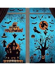 Voqeen Halloween sticker raamafbeeldingen raamdecoratie statisch hechtende dubbelzijdig zelfklevende raamsticker raamdecoratie sticker muursticker 8 vellen