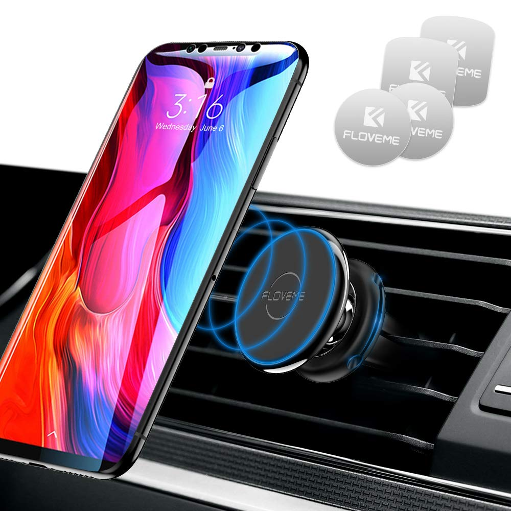 FLOVEME Magnetic Car Phone Mount Cell Phone Holder for Car Air Vent Universal Hands Free 360 Rotate Magnet Car Mounts for iPhone 11 Pro XS Max Xr 7 8 Samsung S11 S10 Pixel Mini Tablet Accessories