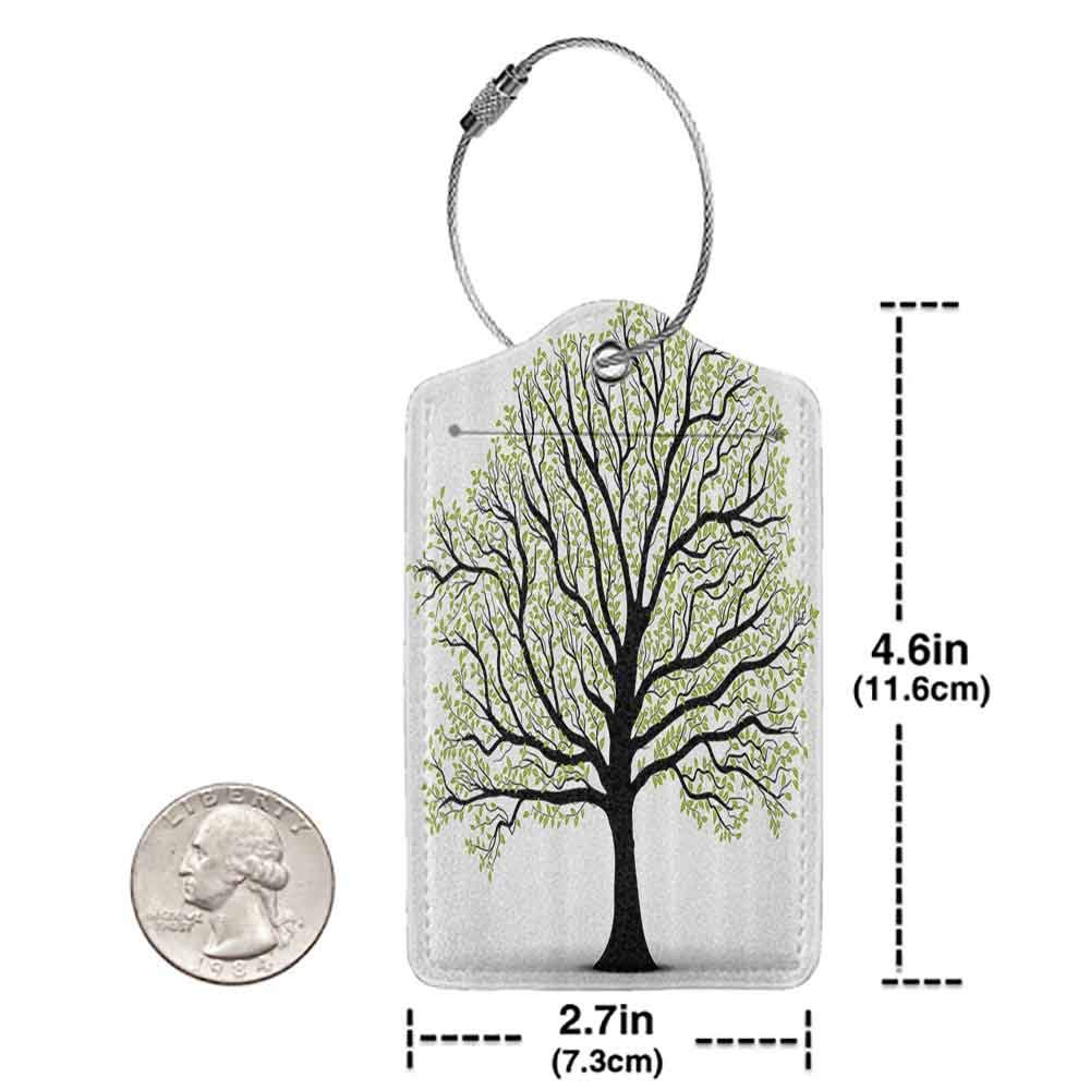 Multi-patterned luggage tag Tree of Life Decor Big Old Lush Tree with Lot of Leaves and Branches Nature Trust Home Artprint Double-sided printing Black White Green W2.7 x L4.6
