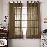 Cheap R.LANG Solid Grommet Top Faux Linen Window Panels for Livingroom 1 Pair Dark Brown 90″W X 108″ L (Set of 2 Panels)