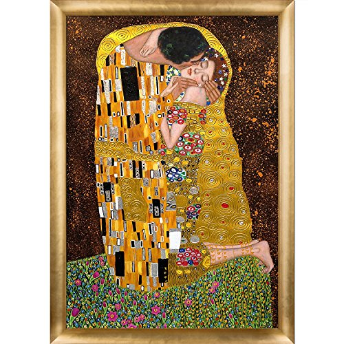 Gustav Klimt Reproductions - La Pastiche KLG1267-FR-H510024X36 The Kiss Metallic Embellished Artwork By Gustav Klimt with Gold Luminoso Frame