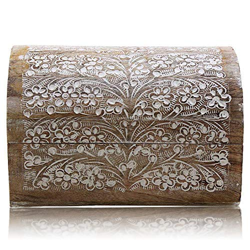 The Great Indian Bazaar Handmade Decorative Wooden Jewelry Box With Detailed Carvings Jewelry Organizer Keepsake Box Treasure Chest Trinket Holder Memory Box Watch Box 9 x 6 Inch Anniversary Gifts