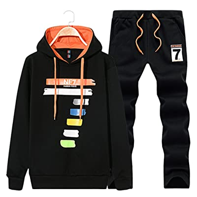 Sun Lorence Boy's Casual Print Pullover Hoodie Active Sweat Suit Sport Tracksuit Set